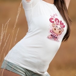 Let's Cow ✿ soyons vache ✿ T-Shirt dame avec 'une mignonne vache joyeuse dessiné dans le style tendance Kawaii