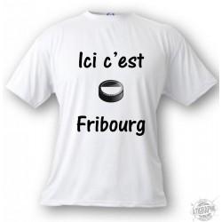 T-Shirt puck de hockey - Ici c'est Fribourg