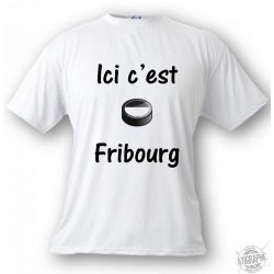 Women's or Men's T-shirt - Ice Hockey - Ici c'est Fribourg, White