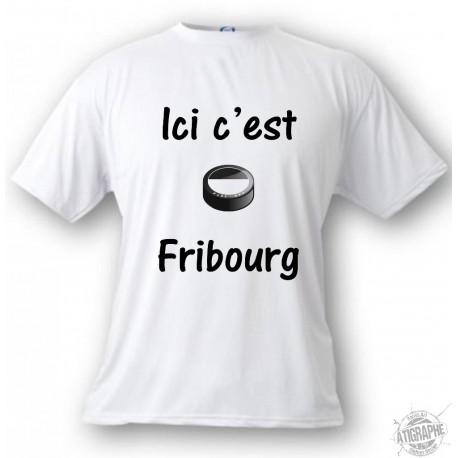 T-Shirt puck de hockey - Ici c'est Fribourg - pour homme ou femme, White