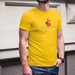 Think Genevois ★ pense Genevois ★ T-Shirt coton homme, inspiré d'une marque de Smartphone et l'écusson du canton de Genève