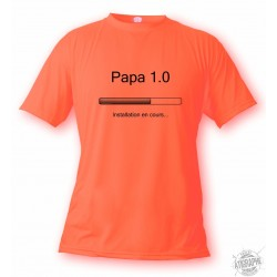 Herrenmode Lustig T-Shirt - Papa 1.0, Safety Orange