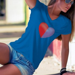Ticino heart ❤ Canton of Ticino ❤ Women's cotton T-Shirt in the colors of the flag of the canton of ✿ Ticino ✿