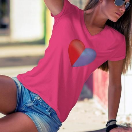 Coeur tessinois ❤ canton du Tessin ❤ T-Shirt coton dame aux couleurs du drapeau du canton du ✿ Tessin ✿