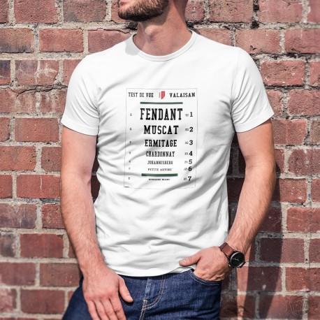 Test de vue valaisan ★ T-Shirt homme ★ Fendant, Muscat, Ermitage, Chardonnay, Johannisberg, petite Arvine et Humagne Blanc ★