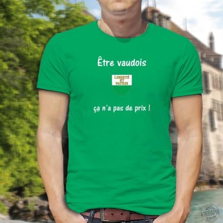 Etre vaudois ★ ça n'a pas de prix ! ★ T-Shirt coton homme, écusson du canton de Vaud