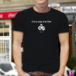 J'ai le corps d'un Dieu ★ Bouddha ★ T-Shirt coton homme ★ Bouddha assis et souriant
