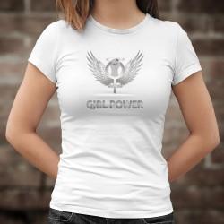 Girl Power ★ Le Pouvoir Féminin ★ T-Shirt mode dame, symbole de la féminité serré dans un poing et entouré d'ailes d'Ange