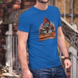 En mode télétravail ★ Gorille hipster ★ T-Shirt coton humoristique homme avec un Donkey Kong, tenant une tasse de café