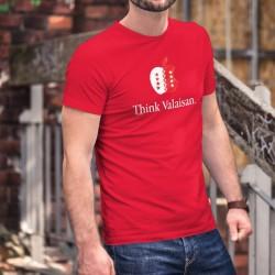 Think Valaisan ★ pense valaisan ★ T-Shirt coton homme, écusson du Valais en forme de pomme et phrase de la marque de smartphones