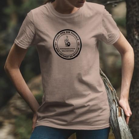 Aussi vite que possible ✚ Aussi lentement que nécessaire ✚ T-Shirt décontracté dame nouvelle devise de la Suisse de Alain Berset