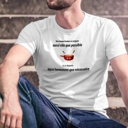 Une fondue se prépare aussi vite que possible et se déguste aussi lentement que nécessaire ✚ T-Shirt homme phrase d'Alain Berset