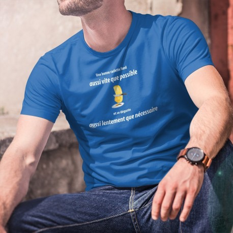 Une bonne raclette fond aussi vite que possible et se déguste aussi lentement que nécessaire ✚ T-Shirt coton homme phrase culte