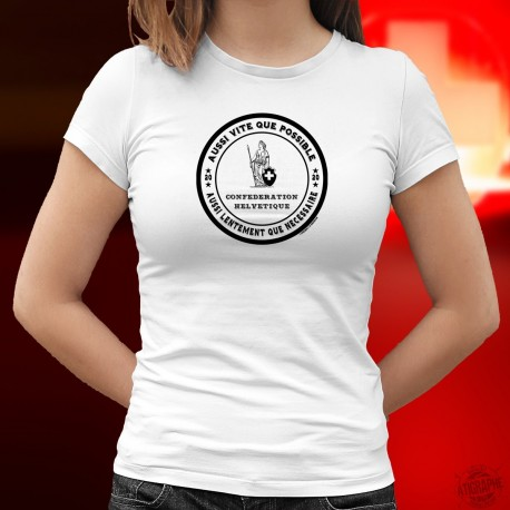 Damenmode T-shirt - Aussi vite que possible ✿ Frau Helvetia