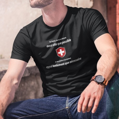 En Suisse on va au bistrot aussi vite que possible ✚ Herren-Baumwoll-T-Shirt