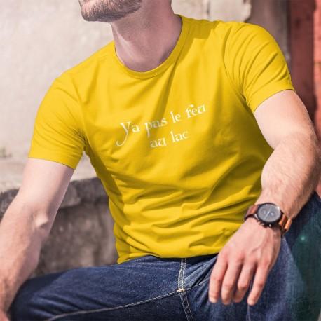 Men's cotton T-Shirt - Ya pas le feu au lac