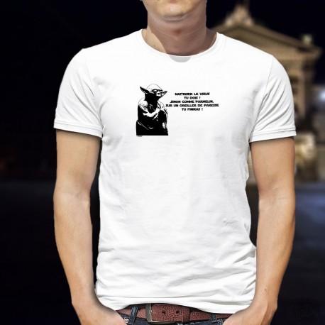 Maitriser le virus tu dois ! Sinon comme Parmelin, sur un oreiller de paresse tu finiras ! ★ Yoda Berset ★ T-Shirt homme