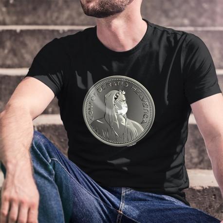 La Thune masquée pour se protéger du Coronavirus ✚ Helvetia ✚ T-Shirt coton homme déconfinement, pièce de cent sous (5CHF)