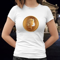 La liberté masquée ✿ Confoederatio Helvetica ✿ T-Shirt mode dame, pièce de 5 centimes suisse