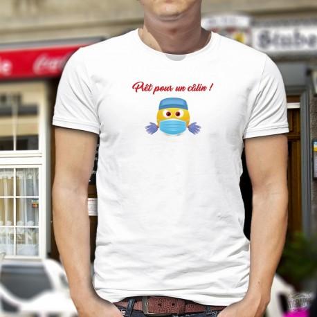 Prêt pour un câlin ! ❤ émoticône avec masque chirurgical et gants ❤ T-shirt homme déconfinement