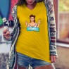 Donna cotone T-Shirt - En mode télétravail ★ Cocktail Pop Art Girl ★
