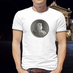 La Thune masquée ✚ Helvetia ✚ T-Shirt homme Pièce de cent sous (5CHF) portant un masque chirurgical pour se protéger du COVID-19