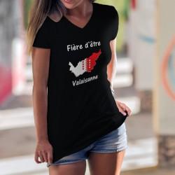 Fière d'être ❤ Valaisanne ❤ T-Shirt coton dame, frontières du canton du valais aux couleurs du drapeau valaisan