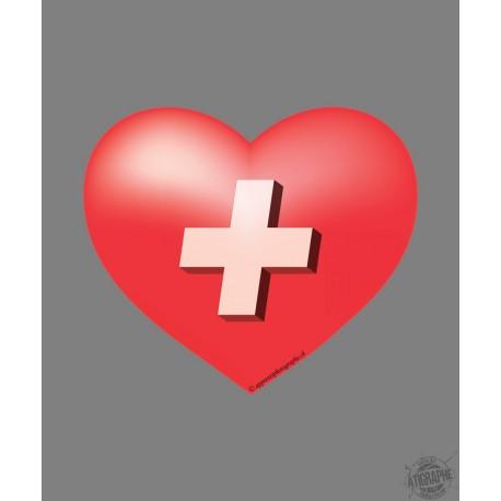 Sticker - Coeur Suisse - pour voiture, pc portable, smartphone