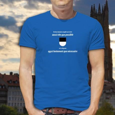 Un dzodzet remplit son VERRE aussi vite que possible ✚ aussi lentement... ✚ T-Shirt coton homme fribourgeois