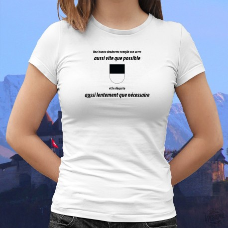 Women's fashion T-Shirt - Une dzodzette remplit son VERRE aussi vite que possible ❤