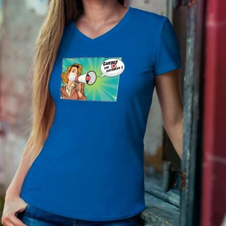 Donna cotone T-Shirt - Gardez vos distances ! ✪