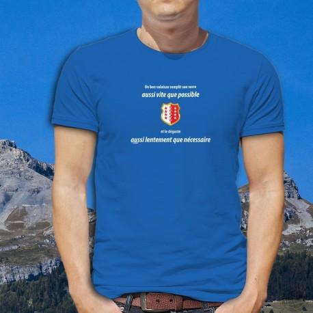 Un valaisan remplit son VERRE aussi vite que possible ✚ T-shirt in cotone da uomo