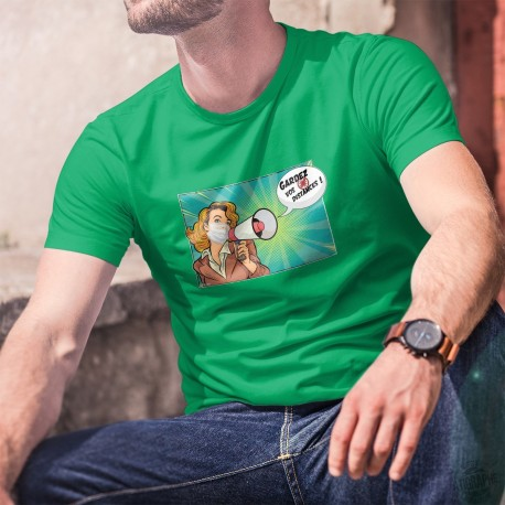 Men's Fashion cotton T-Shirt - Gardez vos distances ! ✪ POP ART ✪