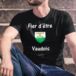 Uomo Moda cotone Vaud T-Shirt - Fier d'être Vaudois ★ écusson ★