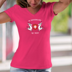 In Switzerland we Trust ✚ Crediamo in Svizzera ✚ Donna cotone T-Shirt, due mucche Holstein