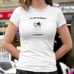 Les têtes intelligentes se protègent ✪ vache masquée ✪ T-Shirt dame afin de garder les gestes barrières lors du déconfinement