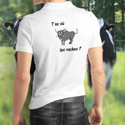 Men's Polo Shirt - T'as où les vaches ? ★
