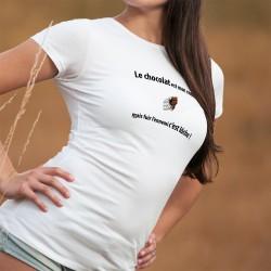 Le chocolat est mon ennemi, mais fuir l'ennemi c'est lâche ❤ T-Shirt mode femme plaque de chocolat