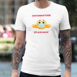 Je porte un masque pour TE protéger ✪ T-Shirt homme, émoticône portant un masque chirurgical pour le déconfinement