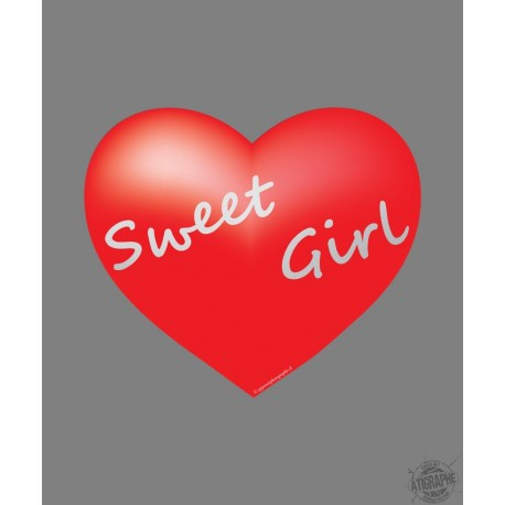 Sticker coeur - Sweet Girl - pour voiture