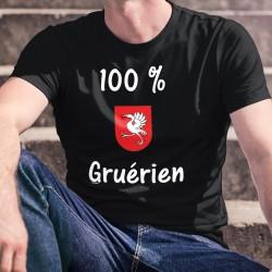 100 pourcent Gruérien ★ T-Shirt coton homme, écusson du district de la Gruyère, une Grue sur fond rouge