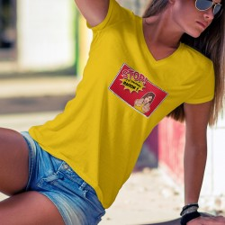 STOP ! J'ai Toujours RAISON ! ★ Pop Art Girl ★ T-Shirt coton dame, une femme déterminée, les paumes en avant dans un cadre de BD