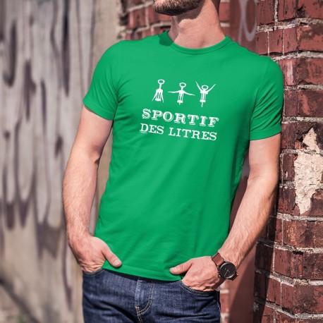 SPORTIF des litres ★ T-Shirt coton homme, tire-bouchon, les sportifs d'élite connaissent les bienfaits de l'apéro sur la santé