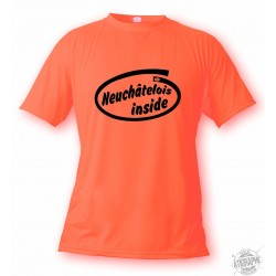 Uomo funny T-shirt - Neuchâtelois inside, Safety Orange