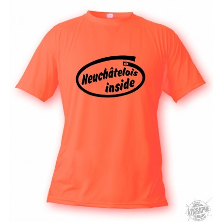 T-Shirt humoristique homme - Neuchâtelois inside, Safety Orange