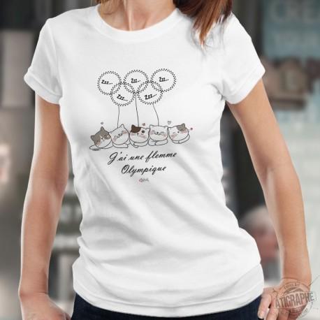 J'ai la flemme olympique ★ chats endormis ★ T-Shirt humoristique femme, pattes de chats en forme d'anneaux olympiques