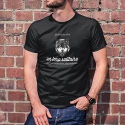 Je préfère être un loup solitaire qu'un mouton populaire ✪ T-Shirt coton pour homme ne suivant pas le troupeau