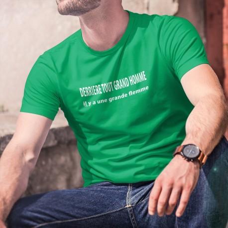 Derrière tout grand homme, il y a une grande flemme ✪ T-Shirt coton homme inspiré d'une phrase culte