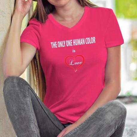 The only one human color is ❤ Love ❤ T-Shirt coton dame, Don à la fondation contre le racisme en hommage aux victimes