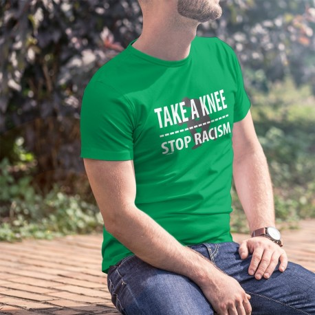 TAKE A KNEE ✪ STOP RACISM ✪ Men's cotton T-Shirt